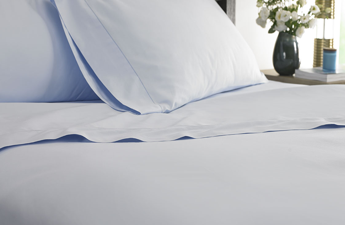 Blue Hemstitch Flat Sheet