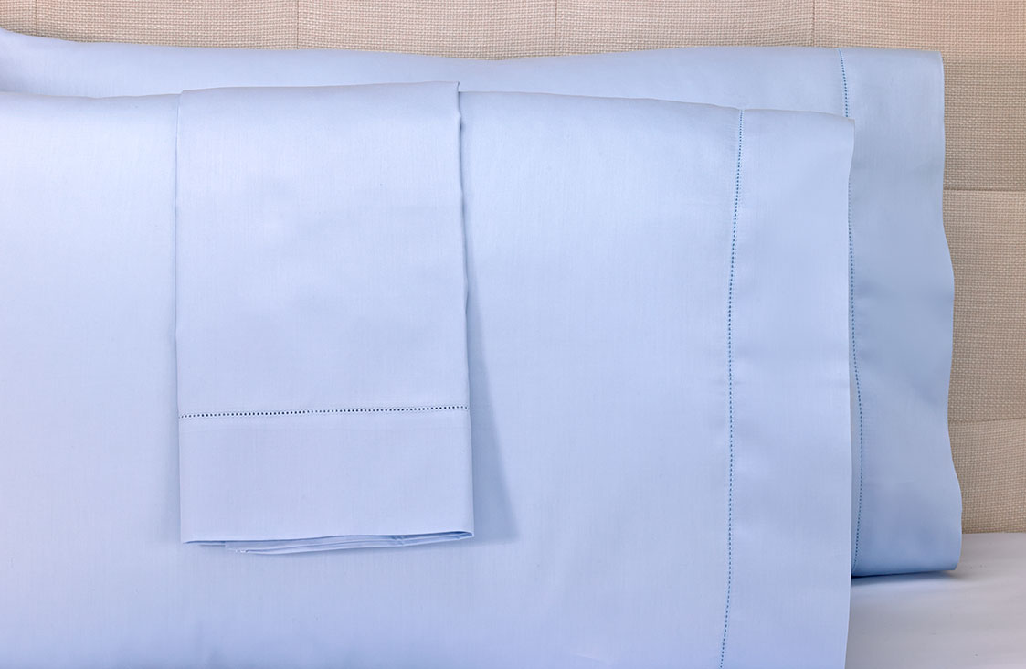 Blue Hemstitch Pillowcases