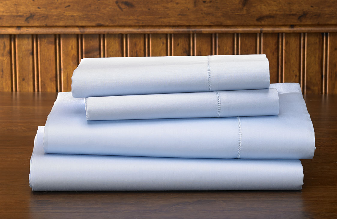Blue Hemstitch Sheet Set