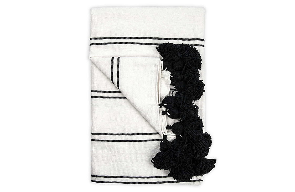 Black Striped Pom-Pom Throw