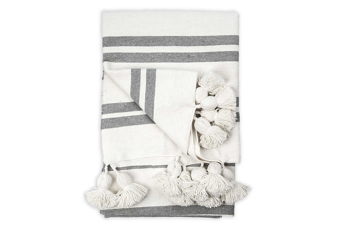 Grey Striped Pom-Pom Throw
